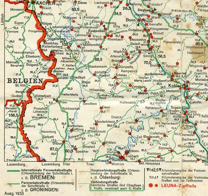 karte von der eifel Karte der Eifel Zapfstellen 1933   Eifelführer   Eifelreise